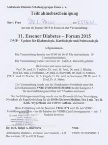 Teilnahmebescheinigung Diabetes-Forum