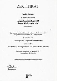 Zertifikat Lungenfunktionsdiagnostik