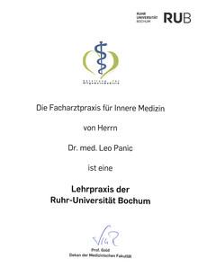 Zertifikat Lehrpraxis innere Medizin