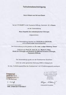 Teilnahmebescheinigung Neue Aspekte der endoskopischen Chirurgie