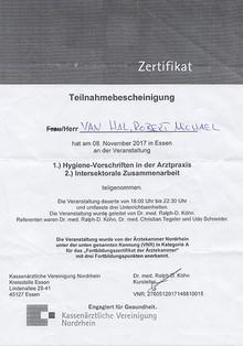 Zertifikat Hygiene-Vorschriften in der Arztpraxis