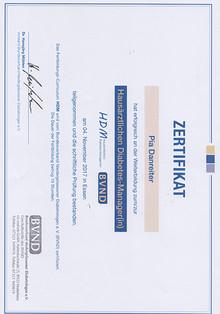 Zertifikat Hausärztliche Diabetes-Managerin