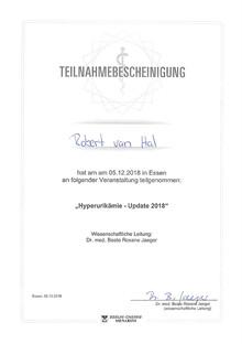 Teilnahmebescheinigung Hyperurikämie - Update 2018