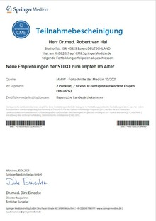 Zertifikat - Neue Empfehlungen STIKO Impfen im Alter